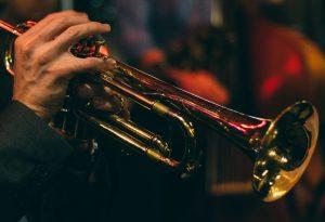Man playing a trumpet.