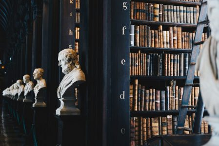 Inside a classical library in Dublin.